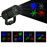 BLOOMWIN LED Christmas Projector Fairy Landscape Light 4 Replacement Lens Moving Snowflake Spotlight for House Wall Wedding Party Decor IP44