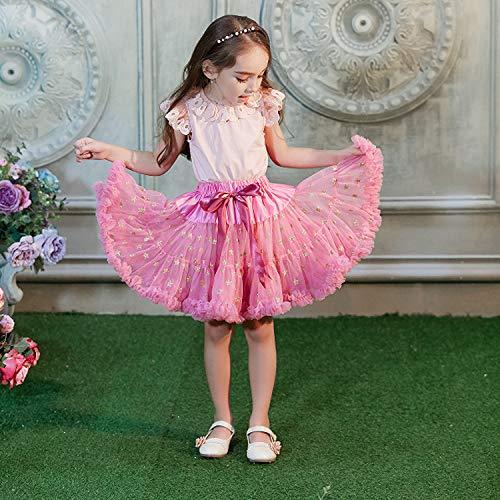 Yamyannie Kleinkind Pom Pom Kostüm Kleid Fluffy Tüll Plissee Tutu Rock Prinzessin Ballett Tanzabnutzung Pettiskirt Tiered für Lady Girls (Farbe : Peach Pink, Größe : (Mädchen Und Kleinkind Prinzessin Peach Kostüm)