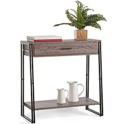 VonHaus Rustic Console Table with Drawer - Modern Industrial Design Wooden Effect Sideboard Storage Cabinet - Lounge, Dining or Living Room Furniture