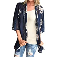 Women's Kimono Cardigan,Kingwo Ladies Feitong Women Floral Print Beach Hollow Out Chiffon Loose Shawl Kimono Cardigan Top Cover Blouse