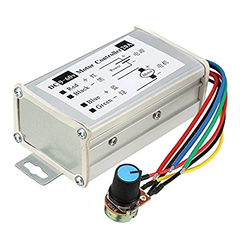 ILS - DC 9-60V 20A PWM Motor Stepless Variable Speed Controller Speed Regulator Switch Control 25KHz