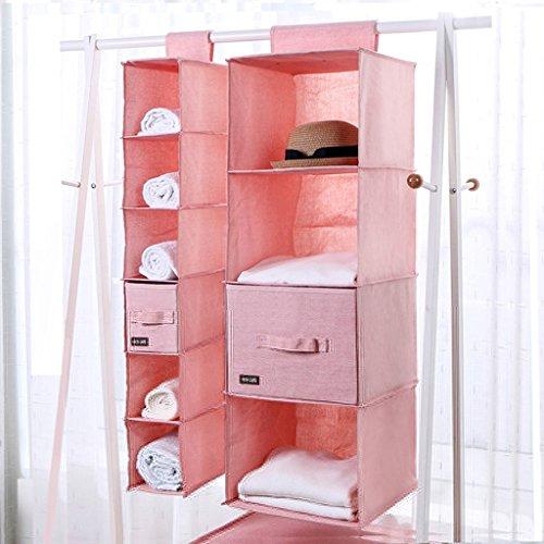 DWW-Panier de rangement Vêtements de stockage sac tissu tissu finition suspendus armoire multi-étages en trois dimensions pratique (Couleur : E)