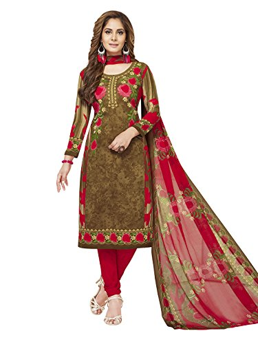 Jevi Prints Women's Unstitched Synthetic Crepe Brown   Red Floral Printed Salwar Suit Dupatta Material  V 2363