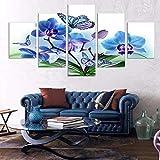 mmwin Trabaje Lienzo Arte de la Pared 5 Paneles Azul Orquídea Flor Resumen Decorativo Modular PicturesFor Sala de Estar Dormitorio Impresiones