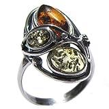 Mehrfarbiger Bernstein Sterling Silber Designer Ring Größe 52 (16.6)
