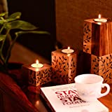 ExclusiveLane Floral Burnt Design Standing Table Tea Light Holders In Sheesham Wood - Tea Light Candle Holders & Stand, T - Light Holder Table Décor