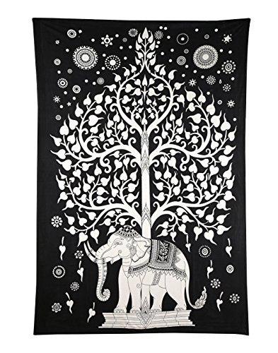 Baum des Lebens Mandala Wandteppich Schwarz und weiß Hippie Elefant Tapisserie Bohemien Wandbehang Baumwolle Tapestry Von Rajarng