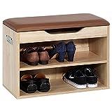 Meuble à chaussures ZAPATO banc avec assise et 2 étagères rangement pour 6 paires mélaminé décor chêne sonoma