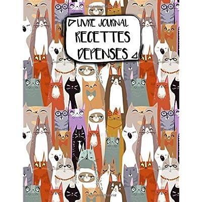 Livre Journal Recettes Dépenses: A4 -106 pages - Animaux- Rigolos - Motis -  Panda - Chien - couverture souple glossy - AutoEntrepreneur - Budget - micro BIC - micro BNC