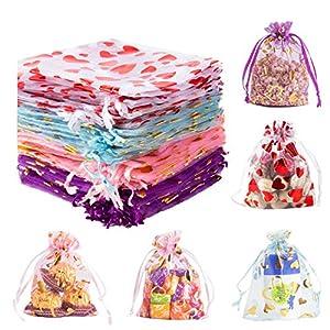 Derbway 80 Stück Organza Geschenktüten, Schmuckbeutel Hochzeitsfestbevorzugung Taschen mit Band,10 * 12cm,Kordelzug,Rot/Rosa/Blau/Lila