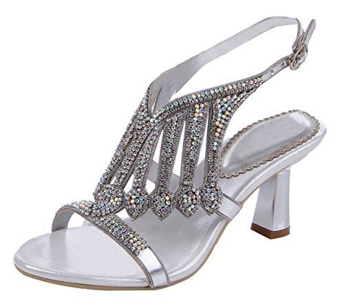 Honeystore Damen's Handgemacht Schichten Strass Glas Absatz Sandalen Silber
