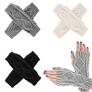 Emooqi Guanti Senza Dita Caldo a Maglia, A maglia Guanti senza dita braccio invernali, Guanti Caldi Lunghi Manicotti… 4 spesavip
