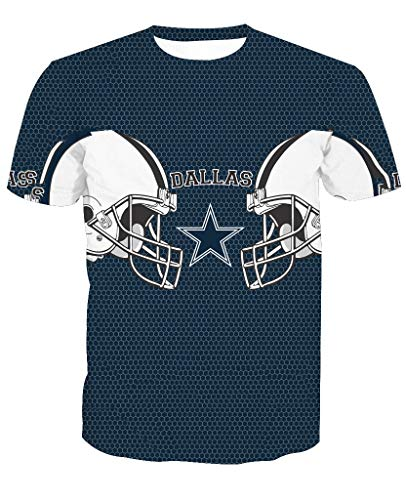 Männer 3D T-Shirt Dallas Cowboys NFL Fußball Team Uniform Muster Digitaldruck Liebhaber Shirt(XXL,Blau)