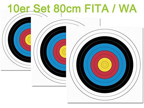 JVD 10er Set 80er FITA WA Papierauflage Scheibenauflage Zielscheibe Bogensport 80x80