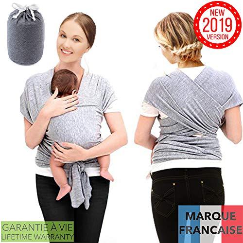 TAKIT Portabebes - Pañoleta para Bebé - Mantón para Bebé - Algodón Natural, Suave y Cómodo - Lactancia Conveniente - Disminuye el Llanto - Gris
