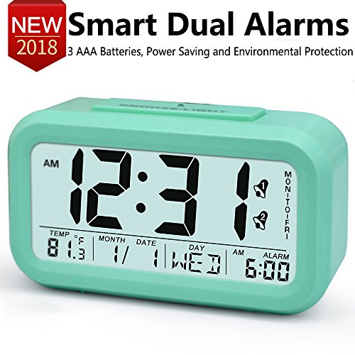 TXL Electric Alarm Clocks for Heavy Sleepers,Easy to Set Alarm Clock,Low Light Sensor Technology, Soft Backlight with Dimmer, Digital Office Home Alarm Clock for Teens or Kids Green