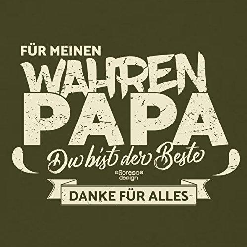 Herren T-Shirt als Vatertagsgeschenk Geburtstagsgeschenk :-: Für meinen wahren Papa :-: Geschenkidee für Ihren Adoptivvater Stiefvater Geburtstag Vatertag Weihnachten Farbe: khaki Khaki