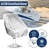 Essort 2 PCS Boat Seat Cover, Housse Siège Pilote, Folding Pedestal Boat Chair Cover, Waterproof Pontoon Captain Seat Chair Cover, Polyester UV Resistant, Grey, 56×61×64cm