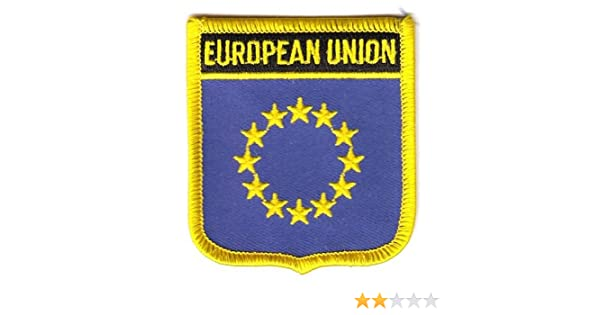 Aufn/äher Patch Europa 12 Sterne Schrift Fahne Flagge FLAGGENMAE/®