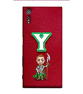YuBingo Designer Printed Plastic Mobile Back Case Cover Panel for Sony Xperia XZ ( Youthful Letter Y (Macho Man Comic Knight Printed on Plastic) )