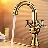 ETERNAL QUALITY Badezimmer Waschbecken Wasserhahn Messing Hahn Waschraum Mischer Mischbatterie Tippen Sie auf Becken Mischbatterien Rose Doppelwaschbecken Küchenarmatur T