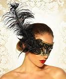 Arunta® Venezianische Maske Venezia Variationen in Schwarz Weiß Gold mit Schmuck (Schwarz mit Feder und Rose)