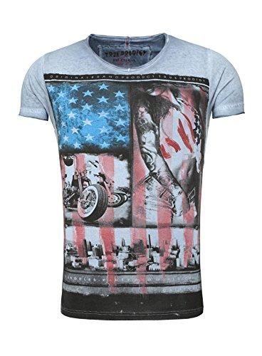 True Prodigy T-Shirt Printshirt Herren blau Männer Rundhals Biker USA Vintage Verwaschen Used Look Girl Fullprint Blau
