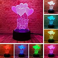 MMLUCK Night Light New Happy Birthday Love Het Balloons 3D Visual LED Night Light Bulb Table Illusion Mood Dimming Lamp 7 Color Amazing Gifts
