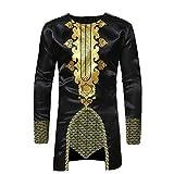 Youthny Herren Afrika T-Shirt Lang Traditionell Schwarz Dashiki Longline Shirt Oberteile Afrikanische Kleidung