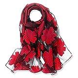 YFZYT Organza-Schal für Damen mit Feder Stickerei Muster/Elegantes Accessoire für Frauen/Organza-Schal/Halstuch/Schulter-Tuch/Schal Chiffon Stola Scarves - Rote Blume