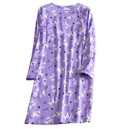 ENJOYNICE -  Camicia da notte  - Donna Purple Dog