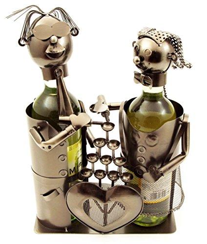 H-LINE 2facher Weinflaschenhalter HOCHZEIT, Doppel-Flaschenhalter Geschenkidee für Paare,...