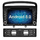 Ohok 7 Zoll Bildschirm 2 Din Autoradio Android 8.0.0 Oreo Octa Core 4G+32G Radio mit Navi Moniceiver DVD GPS Navigation Unterstützt Bluetooth WLAN DAB+ OBD2 für Peugeot 308 2008 2009 2010 Schwarz mit Rückfahrkamera