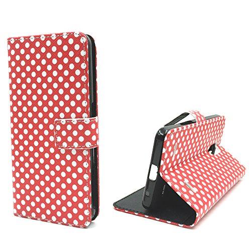 König-Shop Handy Tasche für Apple iPhone SE Flip Cover Case Schutz Hülle Etui Motiv Wallet, Farbe:Don't touch my Phone Rot Polka Dot Rot