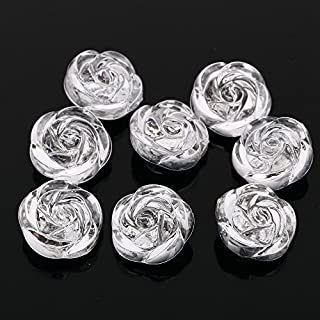 AB6 20pcs Sew on Diamante Clear Acrylic 3D ROSE BUTTONS Sparkle Crystal Gems (20mm)