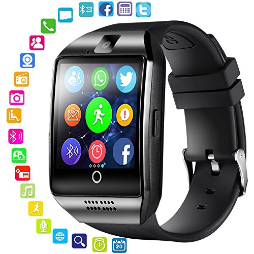 Q18 SmartWatch mit Kamera, MOGOI Wasserdicht Sport Smart Fitness Tracker Armbanduhr mit Sim Card Slot Kamera Schrittzähler für Android IOS Smartphones Goldfarben/Schwarz