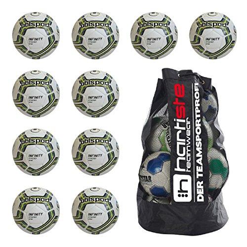 10 x Uhlsport Spiel- und Trainingsball - INFINITY SYNERGY NITRO 2.0 inkl. Ballsack, Größe:5;Farbe:weiß/petrol/fluo lime -