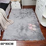 Lange Haar Creme Kunstfell Pelz Stil Teppich Stuhl Sofa Cover Hairy waschbar Teppich rutschfeste Matten 60x90cm, grau, 60 x 90 cm