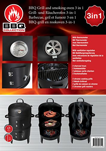 Garden Barbecue Smoker � Durable Barbecue Grill � Charcoal Outdoor Barbecue With Temperature Control Thermometer and Adjustable Air Vents � 2 kilogram Bag of Wood Chip