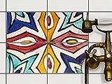 Bad Küche Fliesenfolie Sticker Aufkleber | Fliesen Dekofolie Bad-Fliesen Fliesenbild Küchen-Deko | 20x15 cm Muster Ornament Spanish Tile 4 - 4 Stück