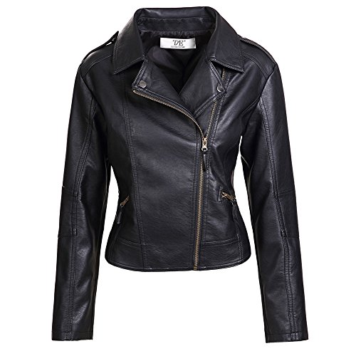 ZAKASA Ladies/Women's Slim Tailoring Faux Leather PU Short Jacket Coat (Womens Slim Short)