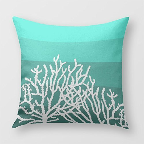 Lepilo White Coral Teal Blocks Pillow Cover for Sofa or Bedroom