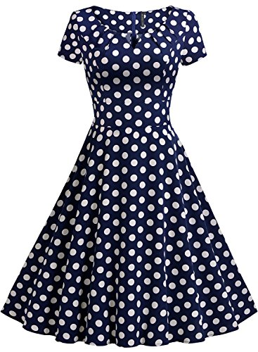 MIUSOL Damen Vintage 50er Kleid Polka Dots Ballkleid Rockabilly Cocktail Abendkleid Blau Gr.S -