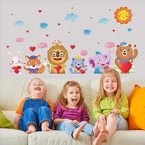 zbinbin Wand Stickersnew Animal Birthday Concert Kinderzimmer Veranda Krippe Kindergarten Hintergrund Dekorative 132X67Cm