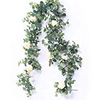 Amknn Artificial Eucalyptus Garland with Champagne Roses Greenery Garland Eucalyptus Leaves Wedding Backdrop Wall Decor (Eucalyptus Garland With White Rose)