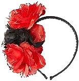 Haarreif mit rot-schwarzen Blumen
