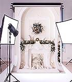 YongFoto 1,5x2,2m Vinyl Foto Hintergrund Weihnachten Kamin Garland Pine Twigs Kerzen Europäische Archäologie Innere Fr