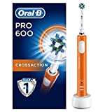 Oral-B PRO600 CrossAction - Cepillo de dientes eléctrico recargable con tecnología de Braun, 1 mango naranja y 1 cabezal de cepillo de dientes