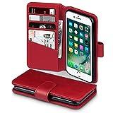 TERRAPIN Coque Cuir iPhone 8/iPhone 7, Étui Housse en Cuir Véritable pour iPhone 8/iPhone 7 Étui - Rouge