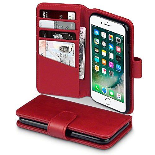 TERRAPIN, Kompatibel mit iPhone 8 / iPhone 7 Hülle, [ECHT Leder] Brieftasche Case Tasche mit Kartenfächer & Bargeld - Rot